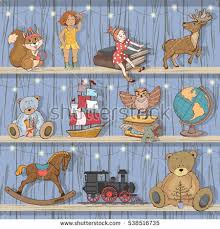 Set Of Childrens Toys Vector Illustration Play Toy Store Window