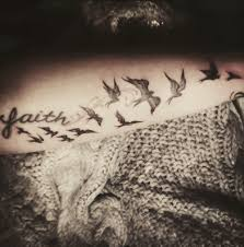 Faith Birds Tattoos On Arm