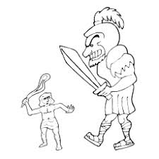 Biblical David And Goliath The Giant Slayer Coloring Pages
