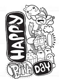 Happy birthday monster party card design Hand drawn Doodle Ve royalty