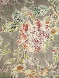 Jacobean Floral Curtain Fabric by Millie Mushroom P Kaufmann Fabric Washed And Weathered Jacobean