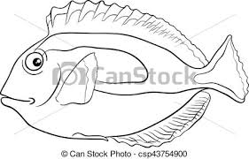 Tuna Fish Coloring Page Vector Clipart Of Blue Tang Black And White