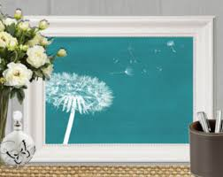 Dandelion Print Teal Home Decor Bedroom Large Wall Art Printable Poster Abstract