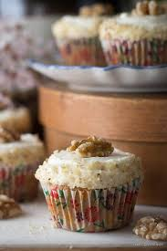 Low Carb Sugar Free Carrot Cake Muffin With Fluffy Cream Cheese Frosting Decorated Finely Chopped
