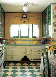 32 Fantastic Vintage Kitchen Decor Ideas With White Green Island And Wooden Cabinet Design