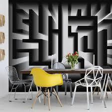 details zu design tapete fototapete für wohnzimmer abstraktes muster labyrinth schwarz weiß