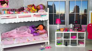 barbie sisters bunk bed bedroom morning routine playing with