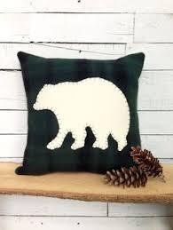 Black Bear Decor Rustic Home Pillow Cabin Woodland Throw Woodsy Lodge