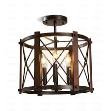 three lights semi flush mount industrial ceiling lights