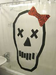 How To Upcycle A Shower Curtain With A Duct Tape Skull For Halloween
