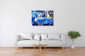 acryl gemälde abstrakt gold blau original vom künstler handgemalt
