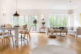 geräumiges weißes wohnzimmer mit holzboden und weißen möbeln