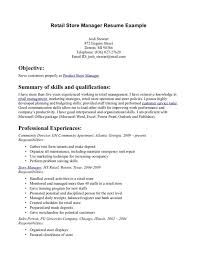 Retail Store Manager Resume Example Objective Summary Of Skills And Qualifications
