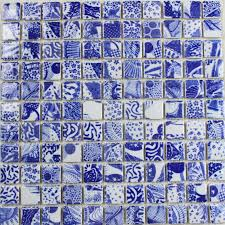 porcelain mosaic tile kitchen backsplash blue white mosaic