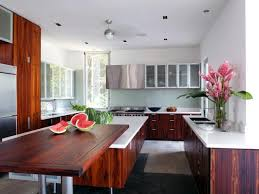 Contemporary White Kitchen With Dark Wood Cabinetry