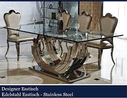 designer esstisch edelstahl esszimmer tisch glastisch glas
