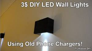 3 DIY Led Wall Sconces Using Old Phone Chargers
