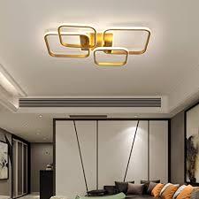 led deckenleuchte schlafzimmer wohnzimmer dimmbar deko decken le modern eckig ring design gold mit fernbedienung esstisch esszimmer küche