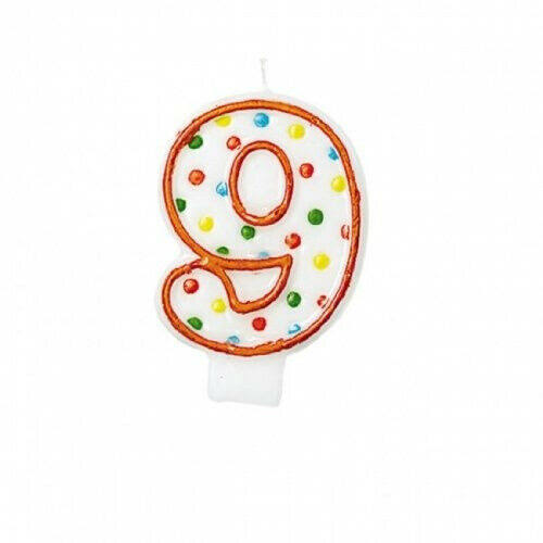 Amscan Polka Dots Number 9 Candle