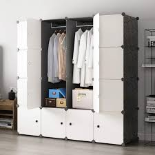 KOUSI Portable Closet Clothes Wardrobe Bedroom Armoire Storage Organizer With Doors Capacious Sturdy Black 10 Cubes2 Hanging Sections