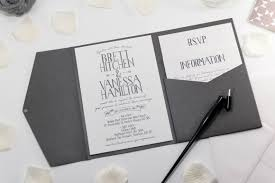 Vintage Banner Wedding Invitation In Platinum Grey Pocketfold