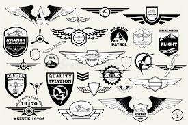 Download Set Retro Emblems Design Elements Badges And Logo Aviation Stock Vector