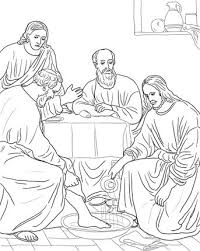 Jesus Washing The Disciples Feet Coloring Page From Holy Week In Jerusalem Category Select 27278 Printable Crafts Of Cartoons Nature Animals