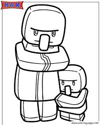 Minecraft Villager And Kid Coloring Pages