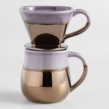 Metallic Ceramic Pour Over Coffee Mug Set