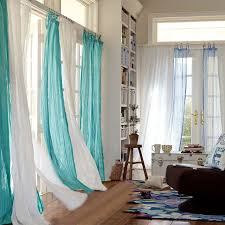 curtain ideas for living room with white and teal color