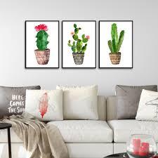 aquarell pflanzen kaktus poster minimalistische dekoration kunst leinwand malerei wandbild für wohnzimmer wohnkultur