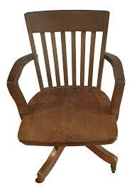1900s Vintage Solid Oak Slat Back Swivel Desk Chair