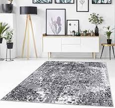 teppich flachflor mit ornament muster florale verzierungen klassisch modern meliert in grau für wohnzimmer größe 160 230 cm
