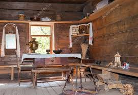 Interior Of Old Rural Wooden House In The Museum Archi Stock Photo