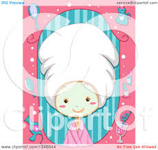 Clipart Of A Cartoon Caucasian Girl Wearing Towel On Her Hair And Face Mask