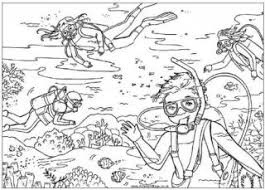 Scuba Diving Colouring Page