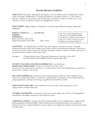 Sample Resume Objectives For New Teachers Refrence Objective Statement Teacher Umecareer Of Teaching