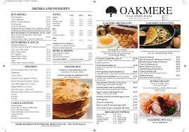Oakmere Menu 2016 Page 1