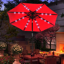 Solar Lighted Patio Umbrella by Solar Powered 32 Led Lighted Outdoor Patio Umbrella With Crank And