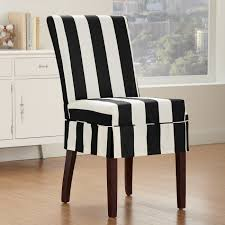 Sure Fit White Linen Dining Chair Cover Mixed Black Wooden Legs With