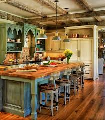 A Rustic Country Kitchen With Color Palette Of Dusky Blue And Ivory