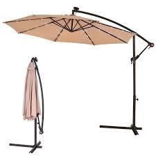 costway 10 hanging solar led umbrella patio sun shade offset