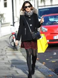Winter Warmer Kelly Brook Looked Chic In A Printed Skater Style Skirt With Opaque