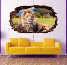 3d wandtattoo löwe afrika savanne wandbild wohnzimmer wand