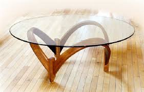 Round Glass Top Curved Wooden Base Modern Contemporary Coffee Tables On Flooring