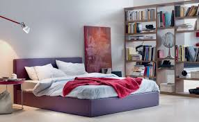 Modern White Junior Bedroom With Purple Bed Frame And Tall Book Rack Wall Paint
