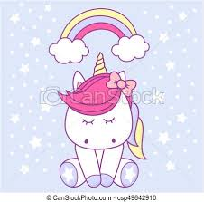 Baby Unicorn Cute With Rainbow And Stars On Light Blue