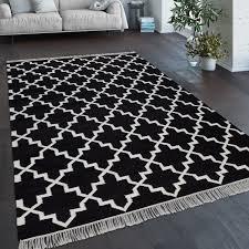 teppich wohnzimmer marokkanisches muster fransen handgewebt wolle schwarz weiß