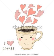 Vector Hand Drawn Cute Cup Of Coffee With Hearts Smile On White Background