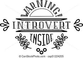 WARNING Introvert inside black on white vector logo Fun image for t shorts and